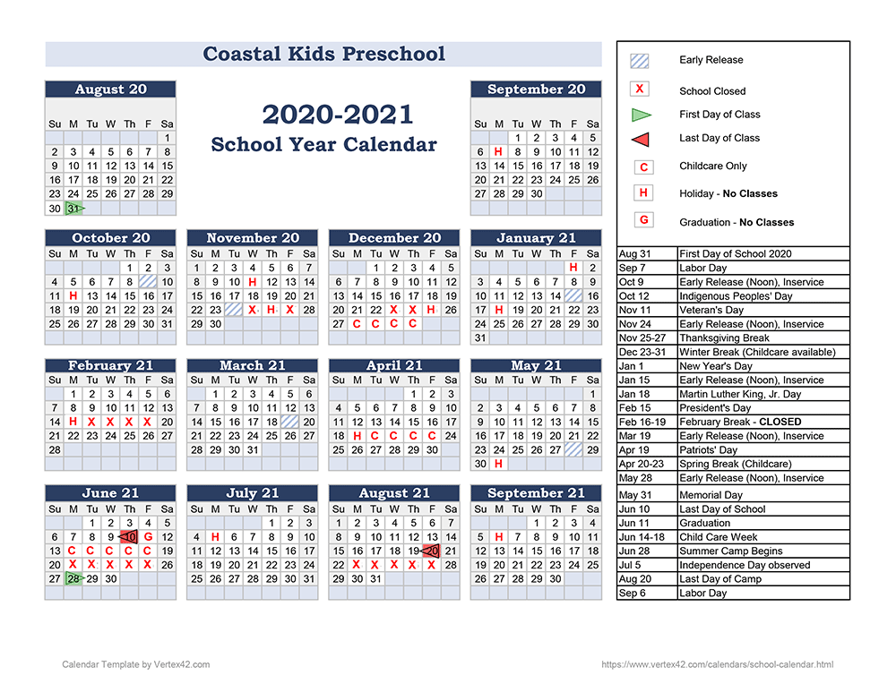 Image of 2020-2021 school calendar